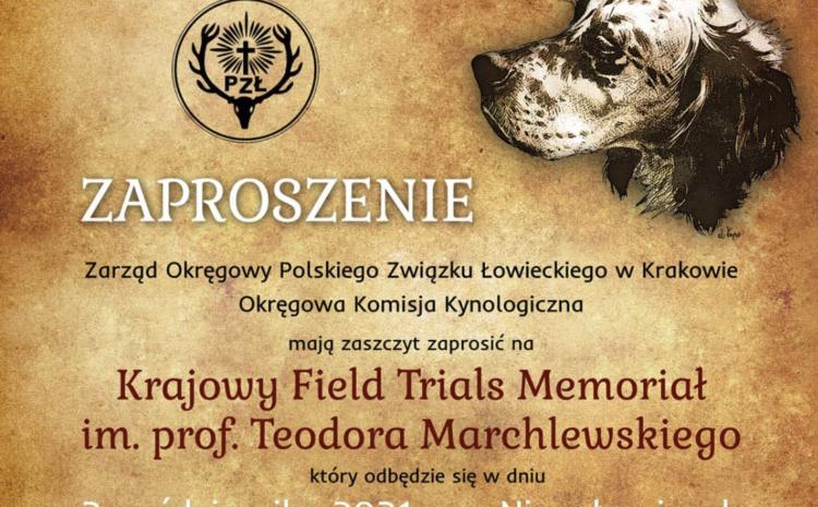 02.10.2021 r. – Krajowy Field Trials Memoriał im. prof. Teodora Marchlewskiego